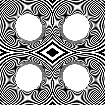 mirrored: Pattern with mirrored ovals, ellipses, abstract repeatable black and white background Illustration