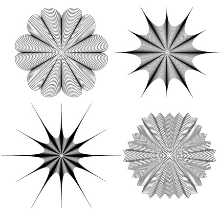 Radial element(s) with distortion, deformation effect. Abstract geometric form(s)