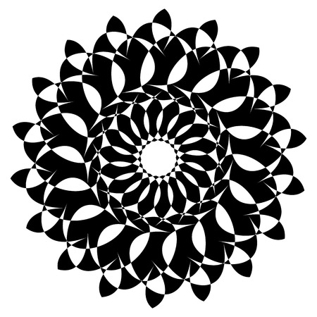 Circular geometric element(s),  rotating radiating shapes on white