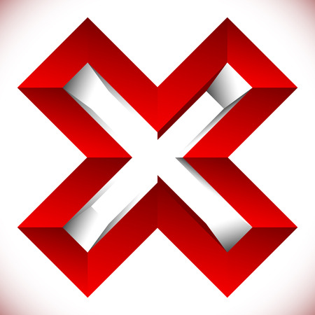 Red X letter, X shape. Red cross icon for negative, decline, error concepts