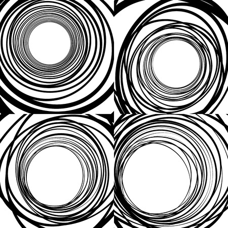 eccentric: Set of random concentric rings, concentric circles geometric patterns. Abstract monochrome backgrounds.