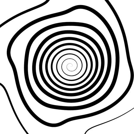 coil: Patrón geométrico espiral. Resumen textura monocromática. Vortex, patrón de remolino Vectores