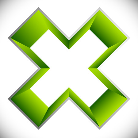 3d outline cross icon – Contour of X shape, X letter with colored inside Illustration