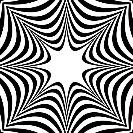 Radial geometric graphic with distortion effect. Irregular radiating lines pattern. abstract monochrome pattern