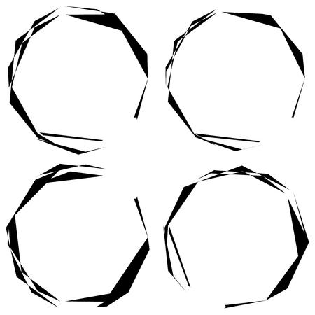 Abstract grungy circle element set. (4 version) Illustration