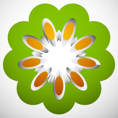 3d Geometric circular floral  flower motif