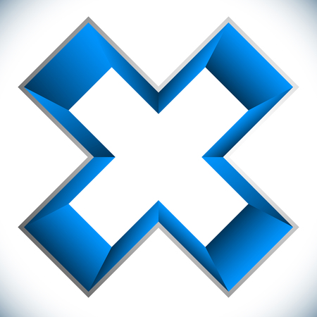3d outline cross icon – Contour of X shape, X letter with colored inside Ilustrace