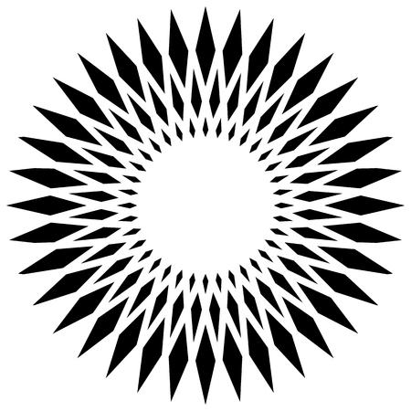 elemento circular geométrica (s), que gira irradiando formas en blanco Vectores