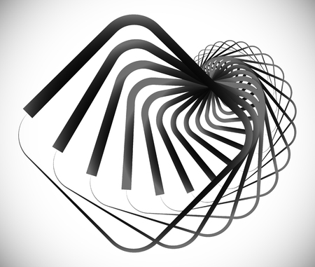 Elemento geométrico en espiral hecho de cuadrados