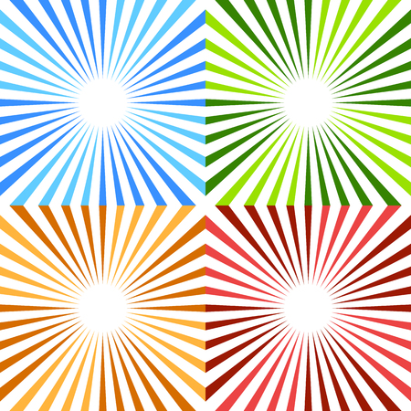 Starburst, sunburst circular pattern in 4 color. Colorful rays, beams design element. Concentric lines, stripes. Illustration