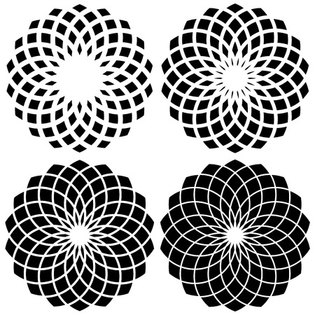 volute: Circular geometric element(s),  rotating radiating shapes on white