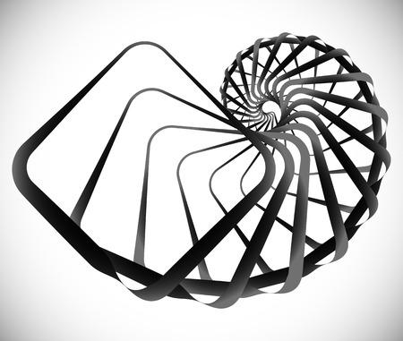 Geometric spiral element made of squares Illustration