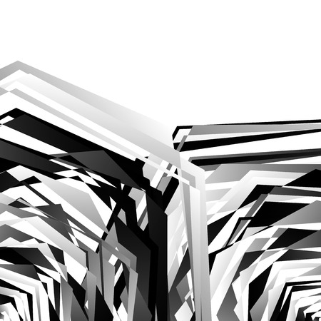 eccentric: Geometric edgy rough pattern. Abstract black and white art. Illustration