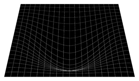 Bent grid in perspective. 3d mesh with convex distortion Illustration