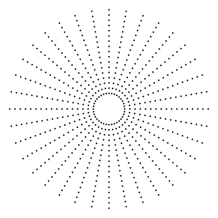 Dotted radial element. Circle, circular pattern shape
