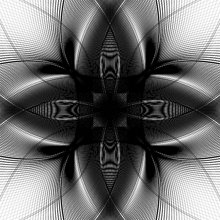 Deformed monochrome pattern. Abstract geometric distorted element. Illustration