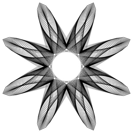 Circular geometric element(s),  rotating radiating shapes on white