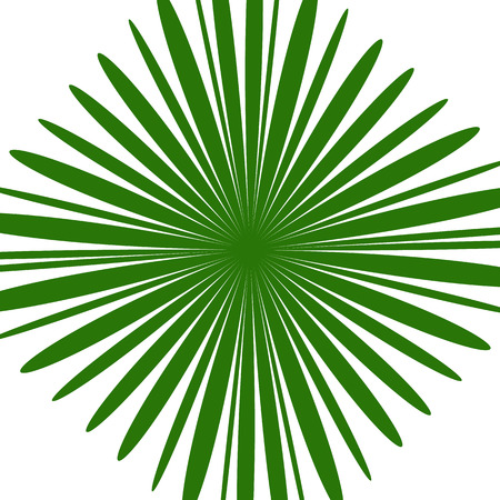 Radial green shape isolated on white background. Square with distorted pucker  bloat effect