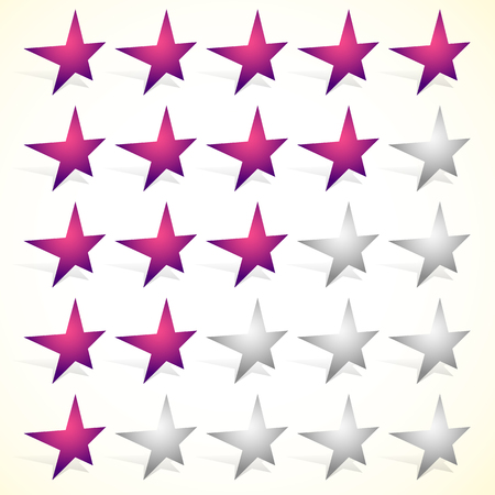 hotel reviews: Star rating element with perspective on stars. Satisfaction, rating, quality, level concepts