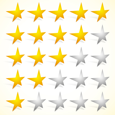 appraise: Star rating element with perspective on stars. Satisfaction, rating, quality, level concepts