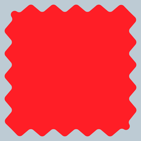 Square with billowy edges. Distorted, deformed square frame, border element. Duotone flat shape.