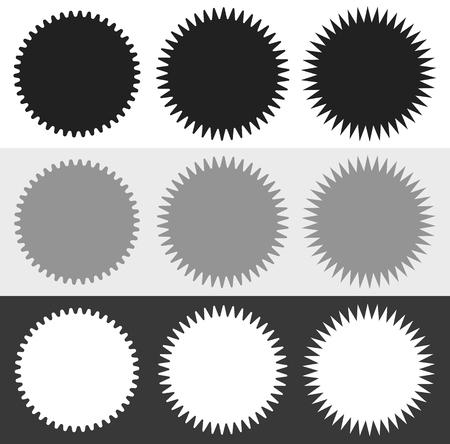 Badges, starburst (sunburst) vormenset. Lege stickers zoals afbeeldingen, prijskaartjes