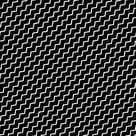 undulating: Black diagonal lines seamless pattern. Wavy, zigzag distorted lines pattern Illustration