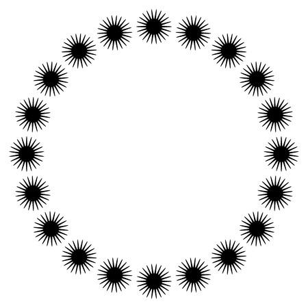 Simple circular element, circle frame. Motif with zig-zag shapes following a circle path