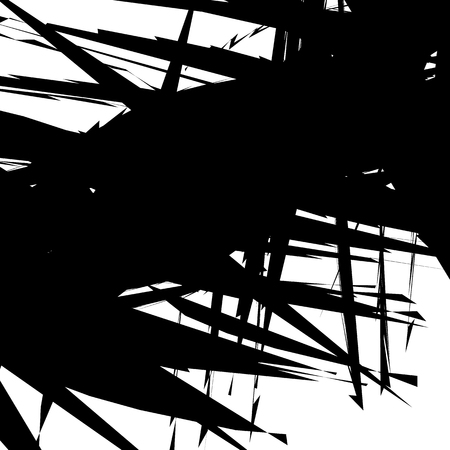 Edgy, chaotic shapes artistic non-figural illustration. Abstract monochrome art