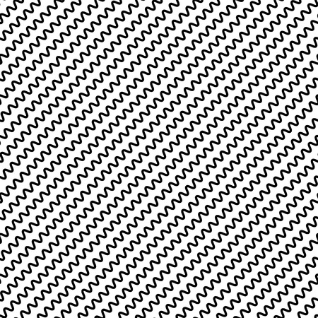 camber: Black diagonal lines seamless pattern. Wavy, zigzag distorted lines pattern Illustration