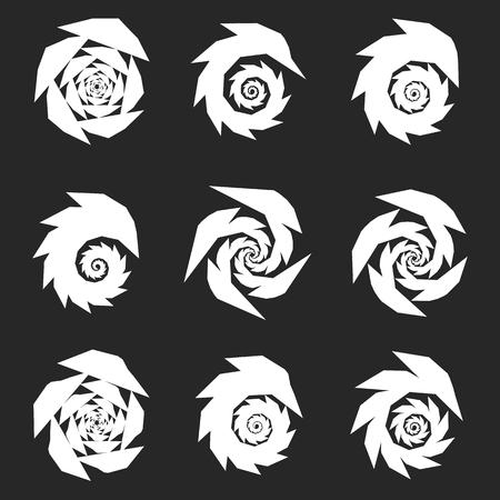 flexure: Spiral, rotating shape, element set with 9 different version Illustration