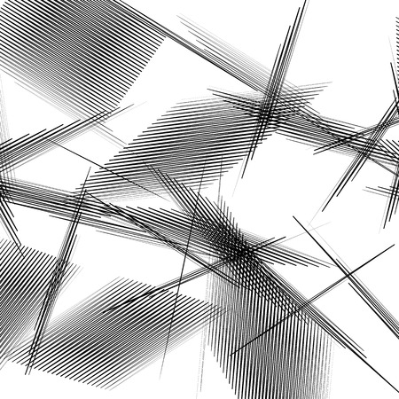 crisscross: Geometric art with random, chaotic lines. Abstract monochrome illustration