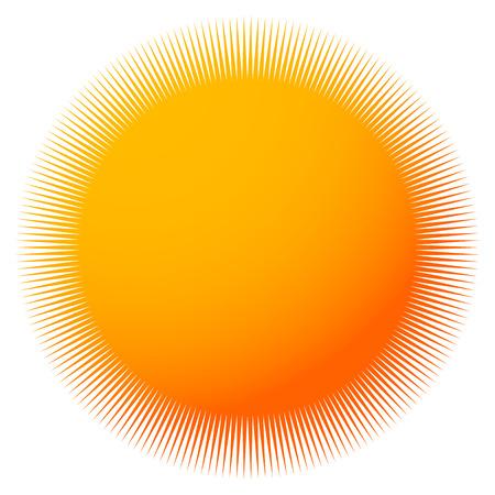 spoke: Starburst, sunburst with thin radial lines. Colorful badge-like element Illustration