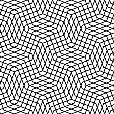 reticular: Seamlessly repeatable geometric monochrome pattern with distorted lines