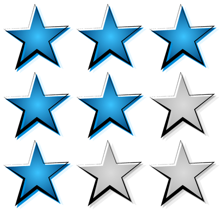Star rating with 3 stars. Icon set for guality, rating, value concepts.