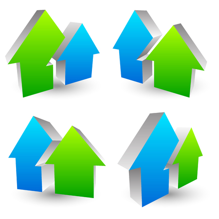 realestate: Icon,  symbol with 2 overlapping house shapes - Simple house icon