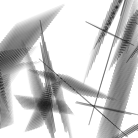 distort: Geometric art with random, chaotic lines. Abstract monochrome illustration