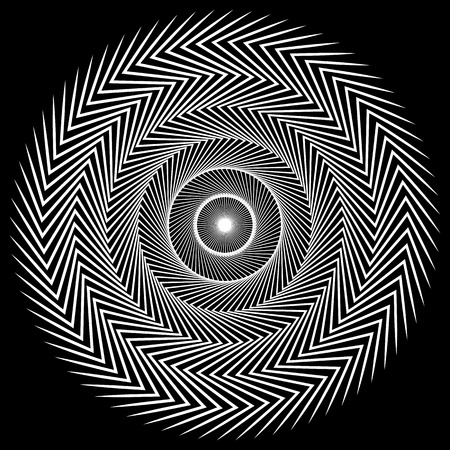 Circular spiral element. Abstract geometric circle element.