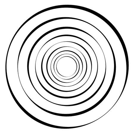 Concentric circles, rings. Geometric spiral, vortex element