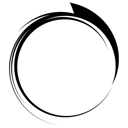 Circle with dynamic swoosh line frame. Monochrome circular element