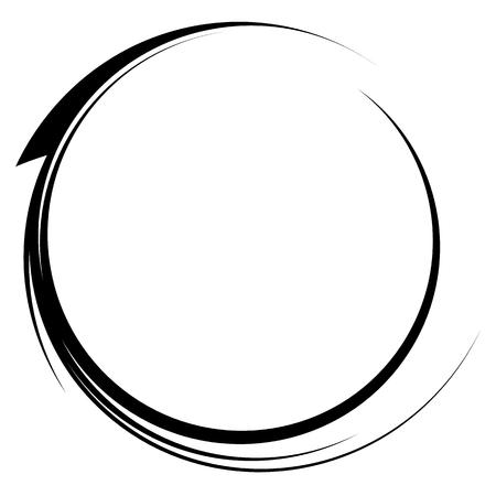 Circle with dynamic swoosh line frame. Monochrome circular element