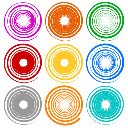 snaky: Set of spiral shapes with different contours