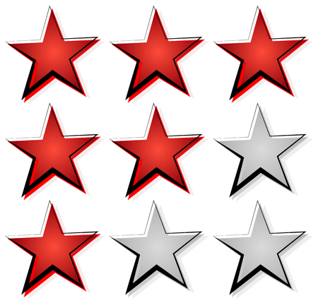 features: Star rating with 3 stars. Icon set for guality, rating, value concepts.