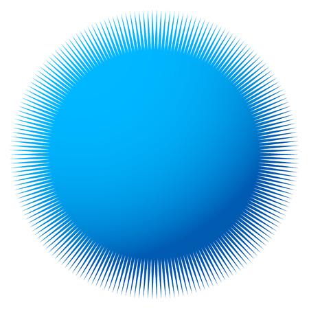 Starburst, sunburst with thin radial lines. Colorful badge-like element Illustration
