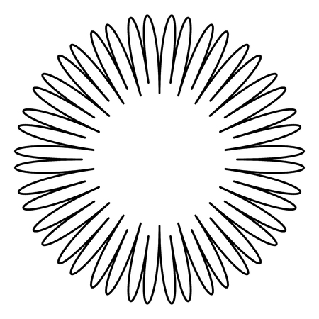 Contour element with radial lines isolated on white