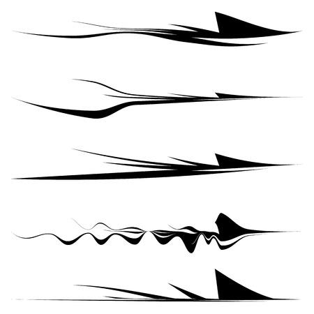 lineas horizontales: líneas horizontales dinámicas, rayas con diferentes contornos Vectores