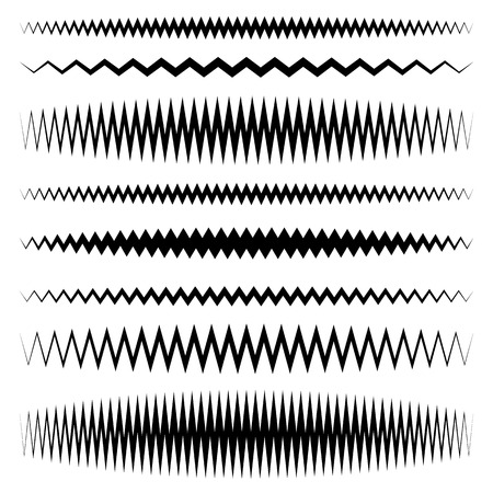 undulating: Wavy, zigzag line set with different level of distortion
