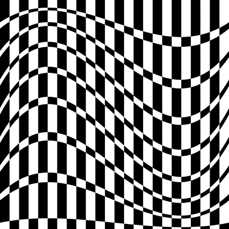 concave: Distorted chequered (checkered) pattern with rectangles and squares