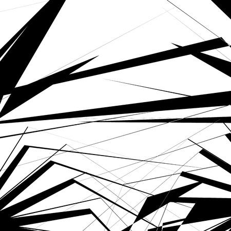 eccentric: Geometric texture with random angular shapes. Monochrome art