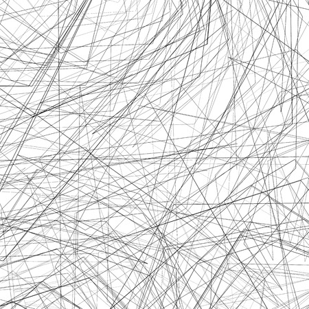 Geometric pattern with random intersecting lines. Chaotic rough texture. Illustration